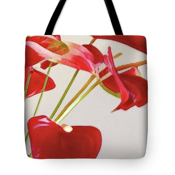 Anthurium Fragments In Red Tote Bag