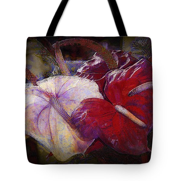 Tote Bag featuring the photograph Anthuriums For My Valentine by Lori Seaman