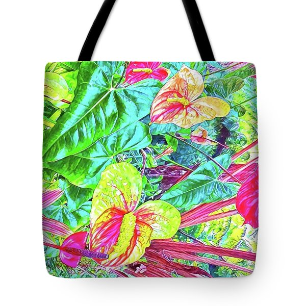 Anthuriums Pink And Turquoise Tote Bag