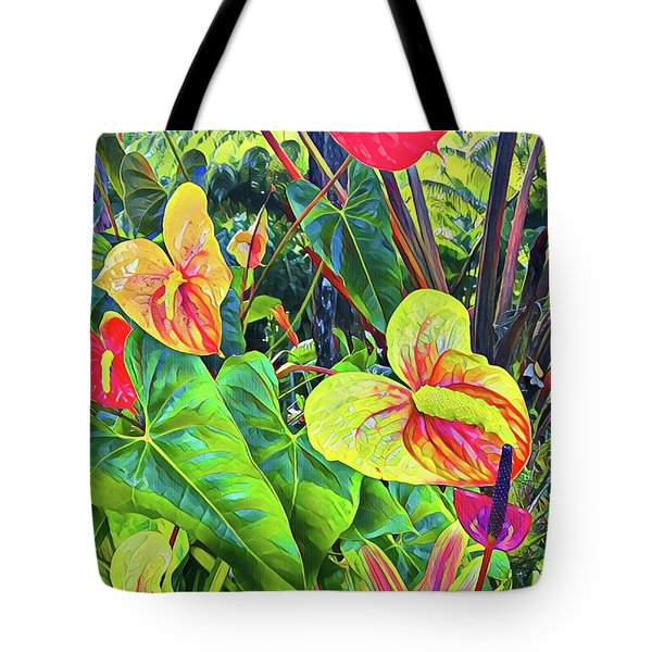 Anthuriums Yellow And Red Tote Bag