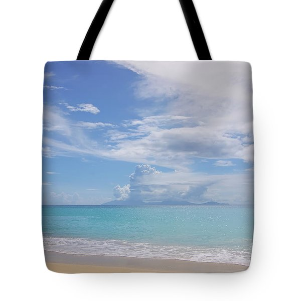 Antigua Beach View Of Montserrat Volcano Tote Bag