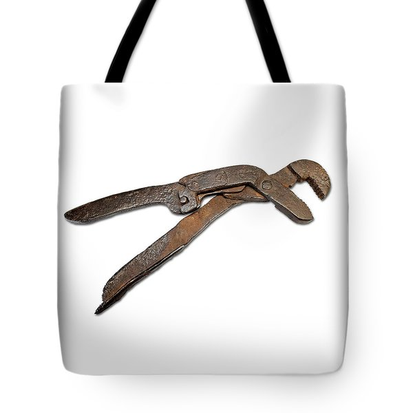 Tote Bag featuring the photograph Antique Adjustable Plier by Jeff Phillippi