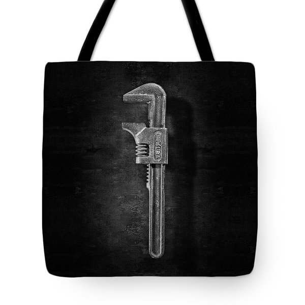 Antique Adjustable Wrench Front In Bw Tote Bag