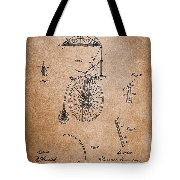 Antique Bicycle Umbrella Patent Tote Bag