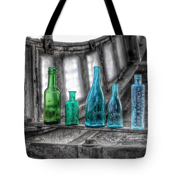Antique Blue Green Glass Bottle Collection Baltimore - Maryland Glass Corporation Tote Bag