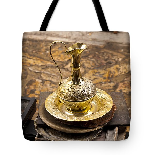 Antique Brass Pitcher Tote Bag by Rae Tucker