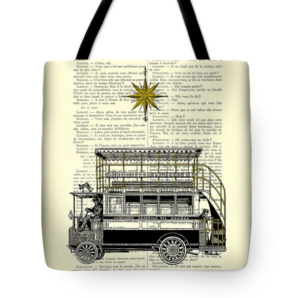 Double-decker Bus Vintage Illustration Dictioanry Art Tote Bag