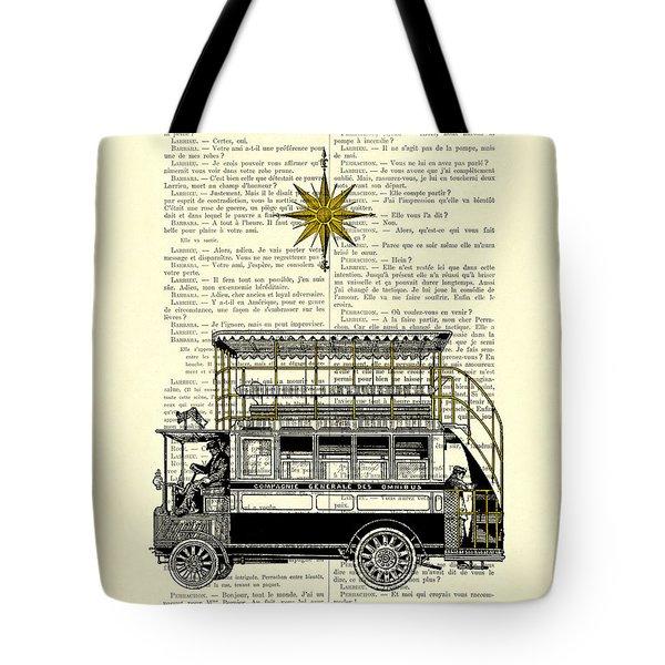 Double-decker Bus Vintage Illustration Dictioanry Art Tote Bag