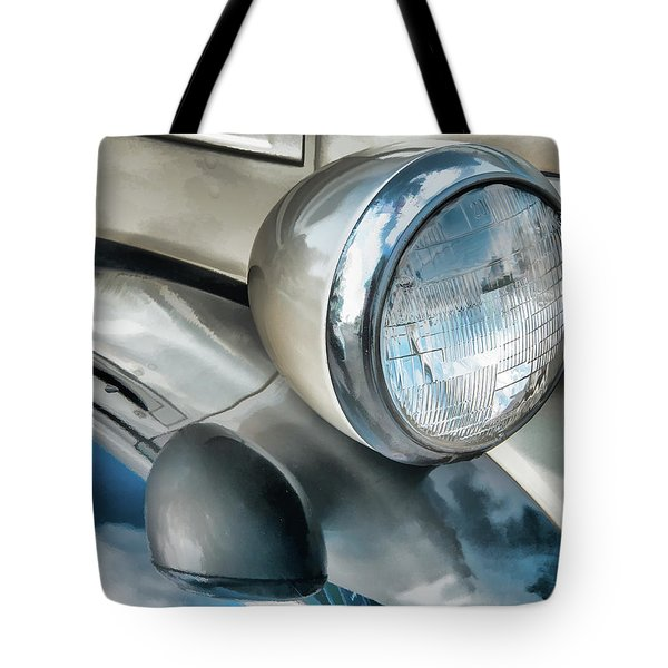 Antique Car Headlight And Reflections Tote Bag