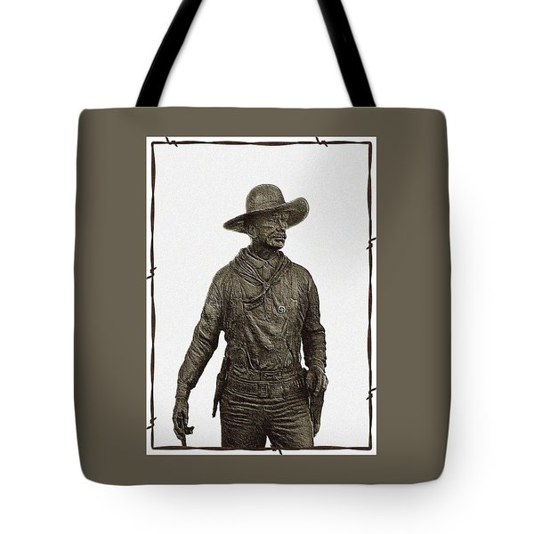 Tote Bag featuring the photograph Antique Cowboy Sculpture by Ellen O'Reilly