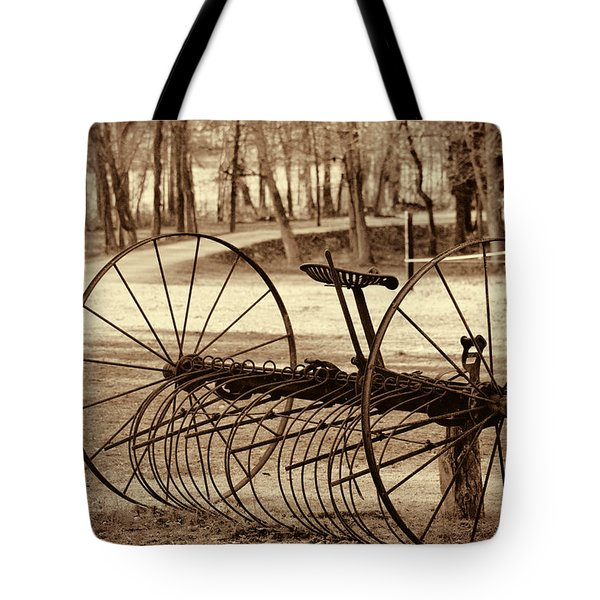Antique Farm Rake In Sepia Tote Bag