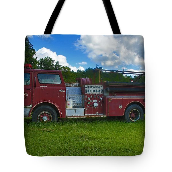 Antique Fire Truck Tote Bag by Ronald Olivier