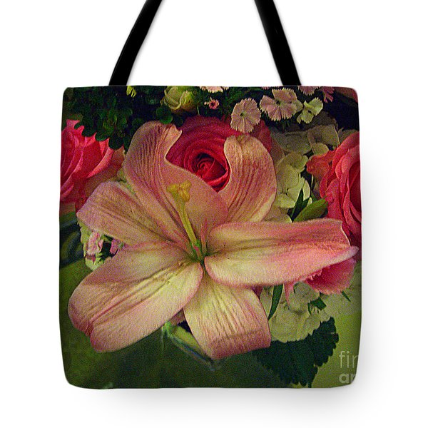 Tote Bag featuring the photograph Antique Floral Masterpiece by Merton Allen