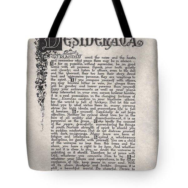 Antique Florentine Desiderata Poem By Max Ehrmann On Parchment Tote Bag