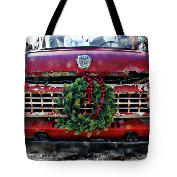 Antique Ford Christmas Tote Bag
