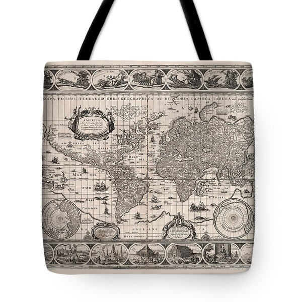 Antique Illustrated Map Of The World - Rivers Of The World - Illustrated Chart - Old Map Tote Bag