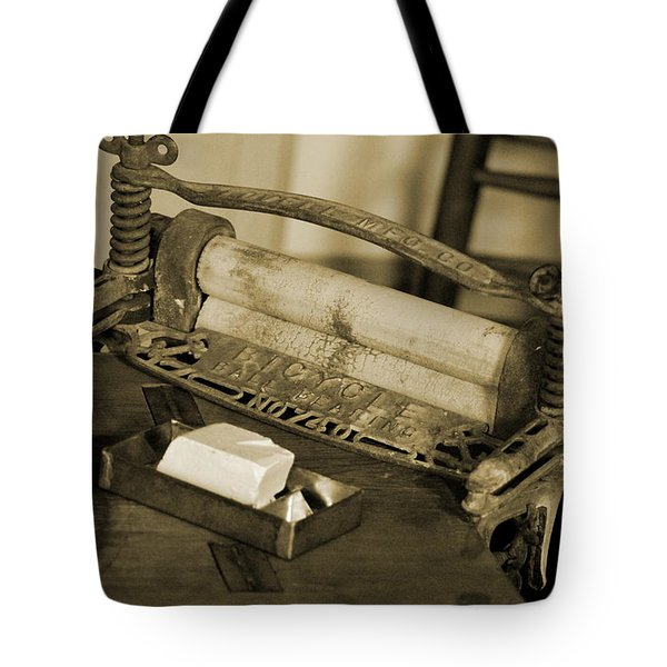 Antique Laundry Ringer And Handmade Lye Soap In Sepia Tote Bag