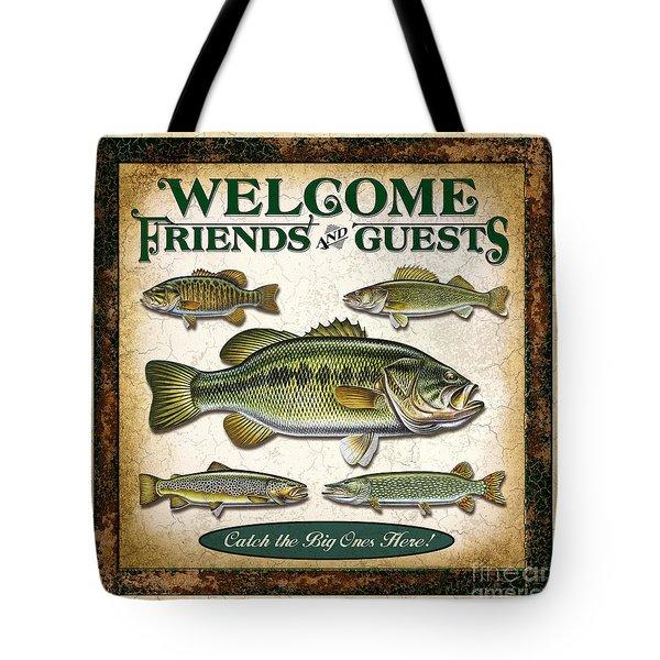 Antique Lure Fish Panel Three Tote Bag