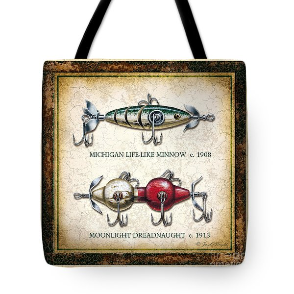 Antique Lure Panel Two Tote Bag