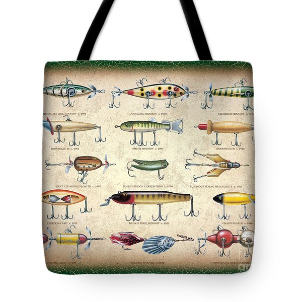 Antique Lures Panel Tote Bag