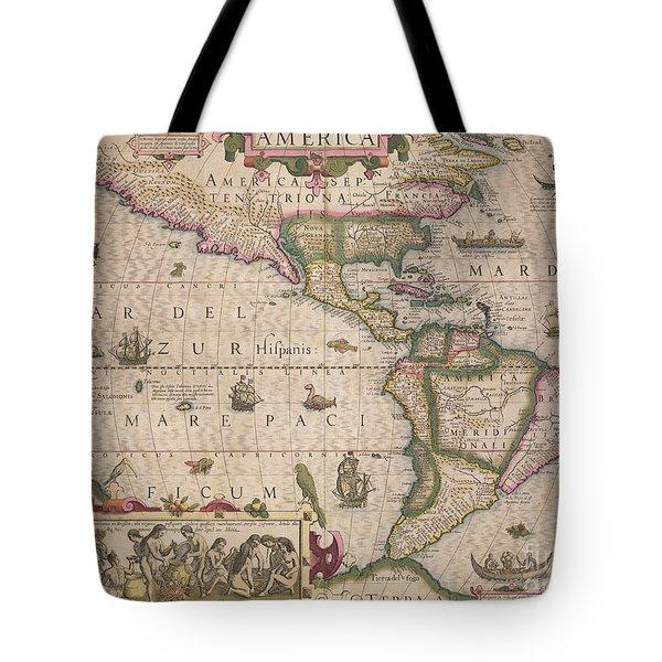 Antique Map Of America Tote Bag by Jodocus Hondius