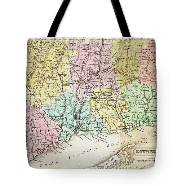 Antique Map Of Connecticut Tote Bag