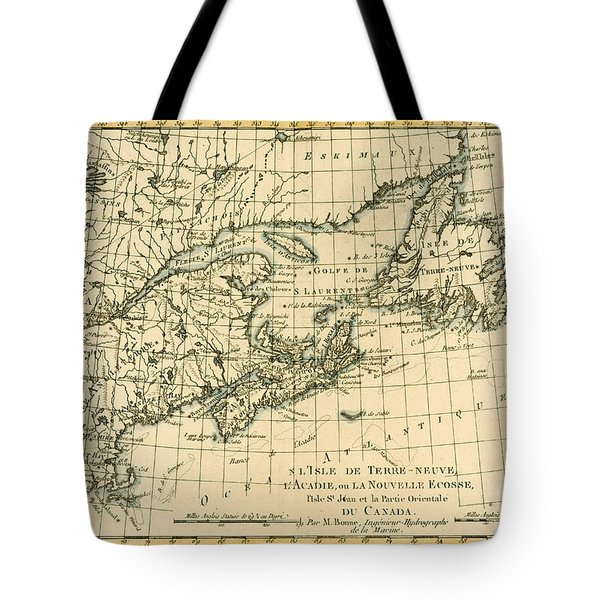 Antique Map Of Eastern Canada Tote Bag by Guillaume Raynal