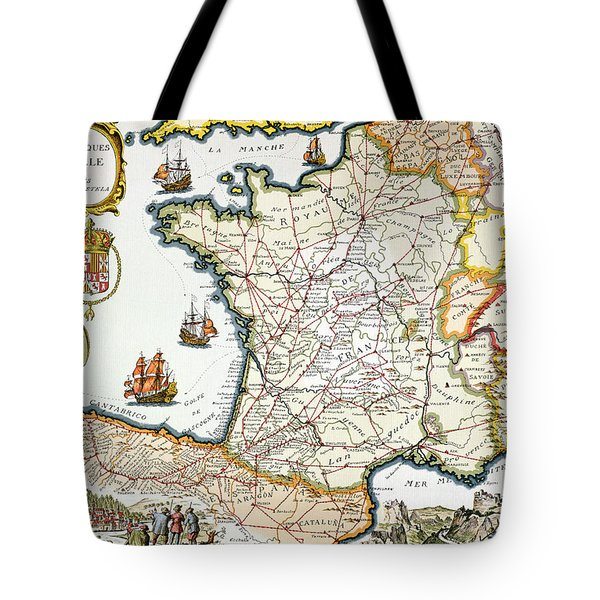 Antique Map Of France Tote Bag by French School