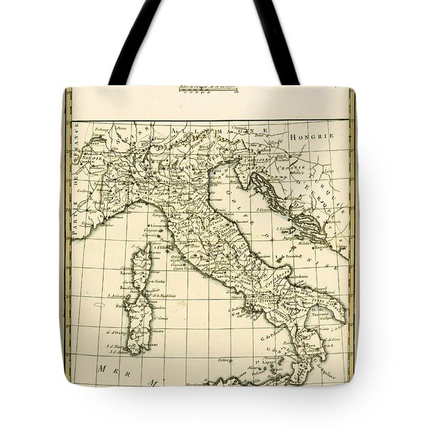 Antique Map Of Italy Tote Bag by Guillaume Raynal