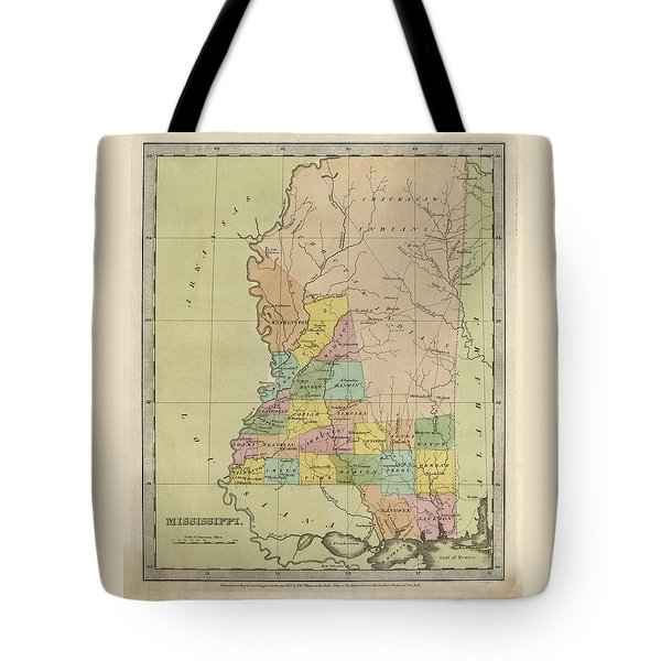 Antique Map Of Mississippi By David Burr - 1835 Tote Bag