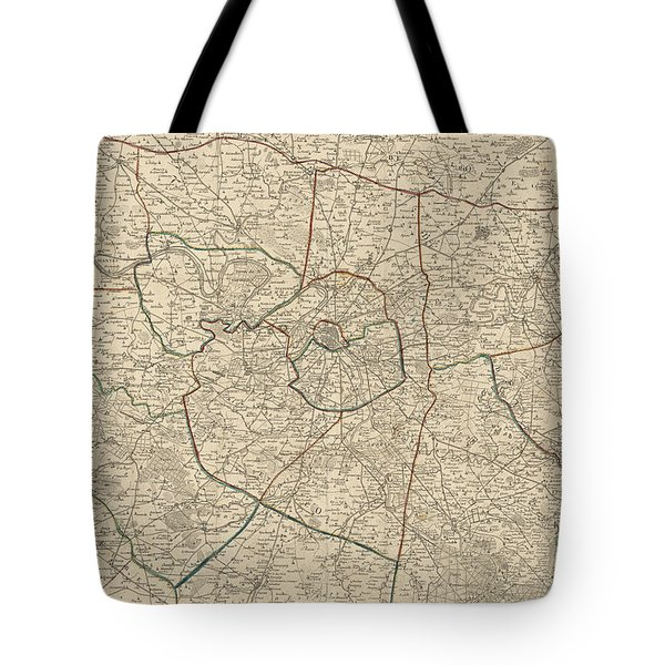 Antique Map Of Paris France And Surroundings By Jacques Esnauts - 1811 Tote Bag by Blue Monocle