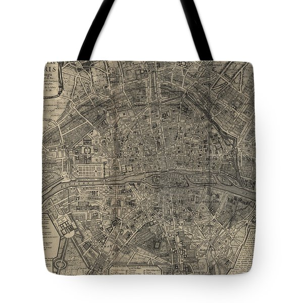 Antique Map Of Paris France By Nicolas De Fer - 1705 Tote Bag