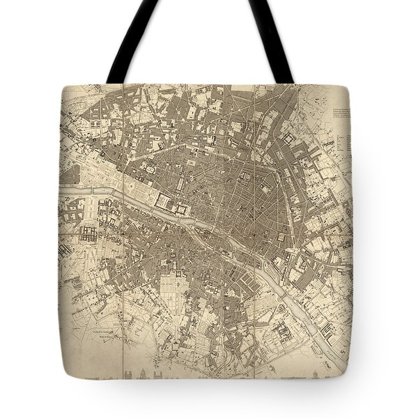 Antique Map Of Paris France By The Society For The Diffusion Of Useful Knowledge - 1834 Tote Bag