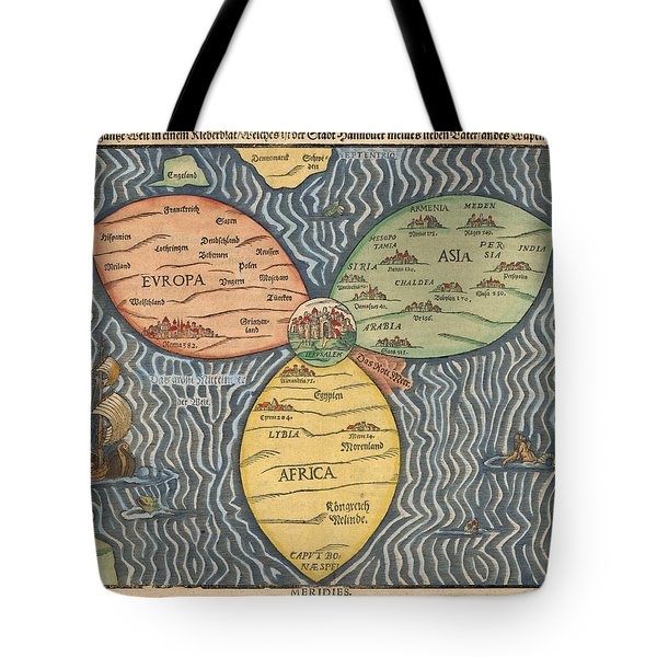 Antique Maps - Old Cartographic Maps - Antique Clover Leaf Map Of Europe, Asia And Africa Tote Bag