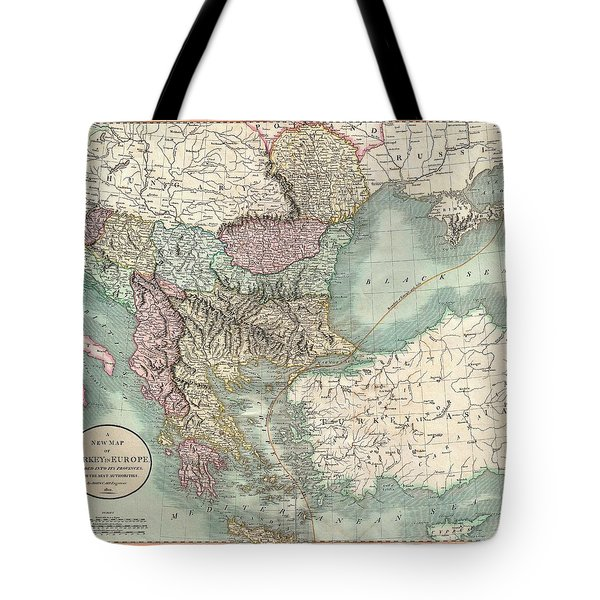 Antique Maps - Old Cartographic Maps - Antique Map Of Turkey In Europe, Greece And The Balkans, 1801 Tote Bag