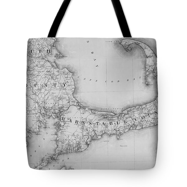 Antique Maps - Old Cartographic Maps - Old Map Of Cape Cod, 1844 Tote Bag