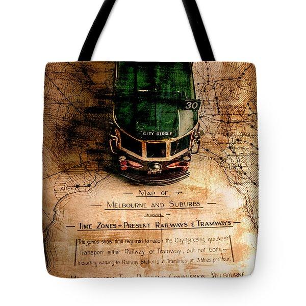Antique Melbourne Travel Map Tote Bag