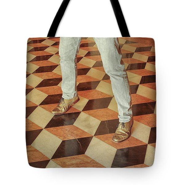 Tote Bag featuring the photograph Antique Optical Illusion Floor Tiles by Patricia Hofmeester