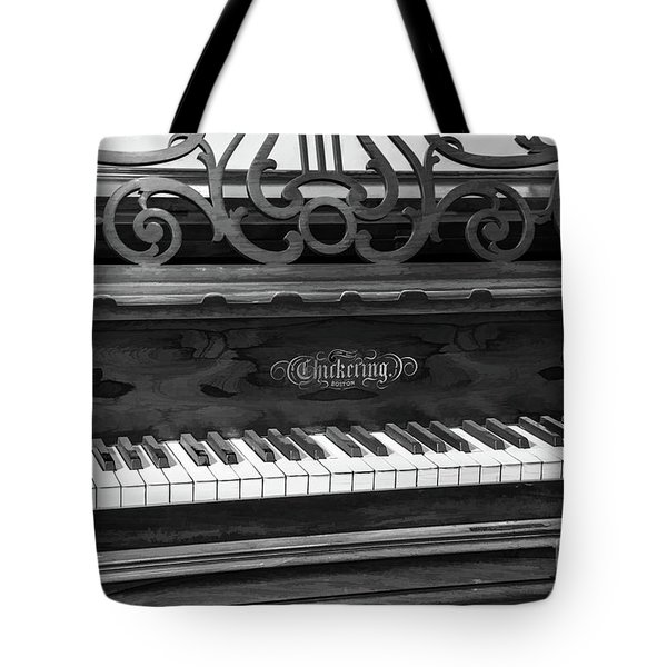Antique Piano Black And White Tote Bag