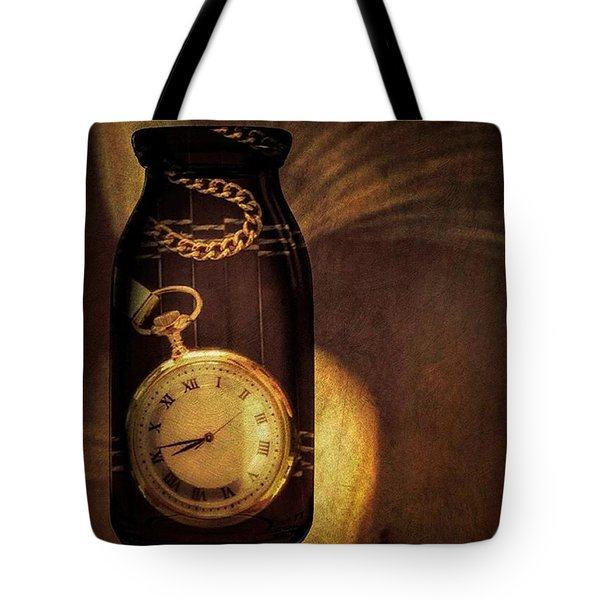 Antique Pocket Watch In A Bottle Tote Bag