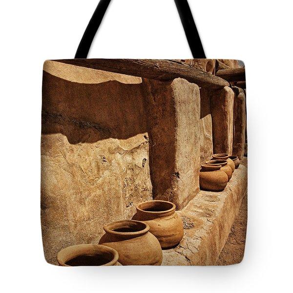 Antique Pots At Mission Txt Tote Bag