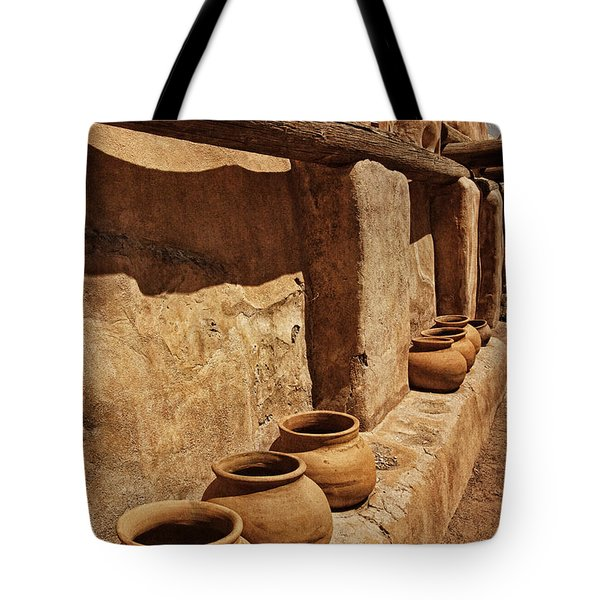 Antique Pots At Mission Txt Tote Bag