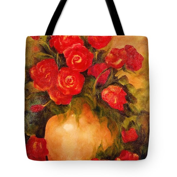 Antique Red Roses Tote Bag