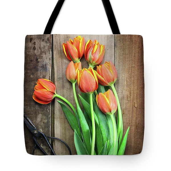 Tote Bag featuring the photograph Antique Scissors And Bouguet Of Tulips by Stephanie Frey