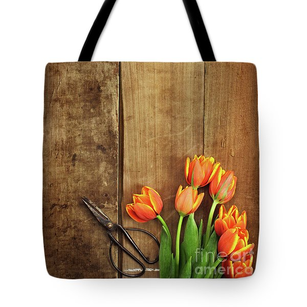 Tote Bag featuring the photograph Antique Scissors And Tulips by Stephanie Frey