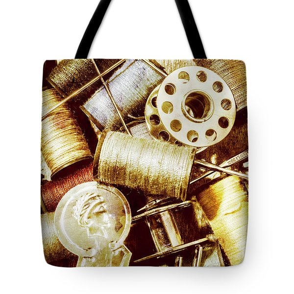 Tote Bag featuring the photograph Antique Sewing Artwork by Jorgo Photography - Wall Art Gallery