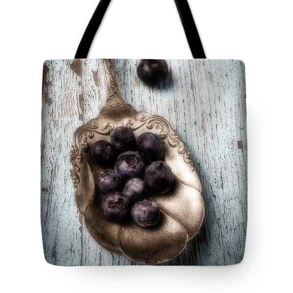 Antique Spoon And Buleberries Tote Bag