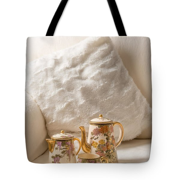 Antique Teaset On Sofa Tote Bag