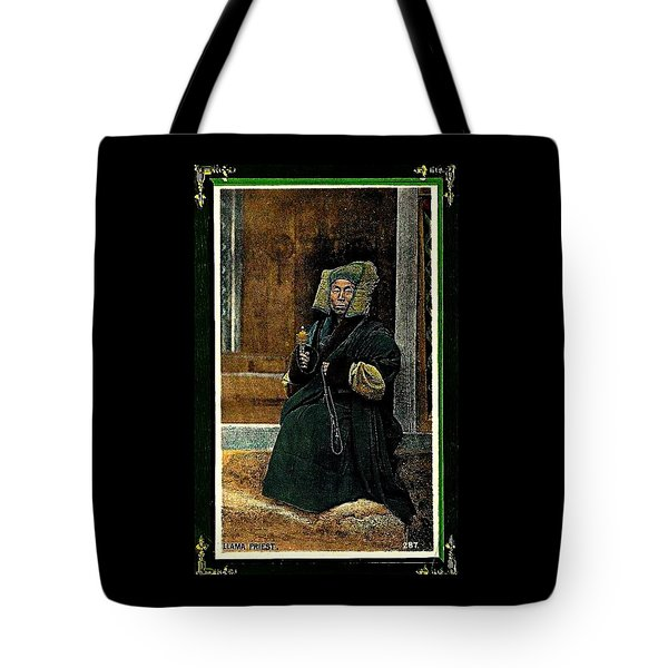 Tote Bag featuring the painting Antique Tibetan Lama by Peter Gumaer Ogden