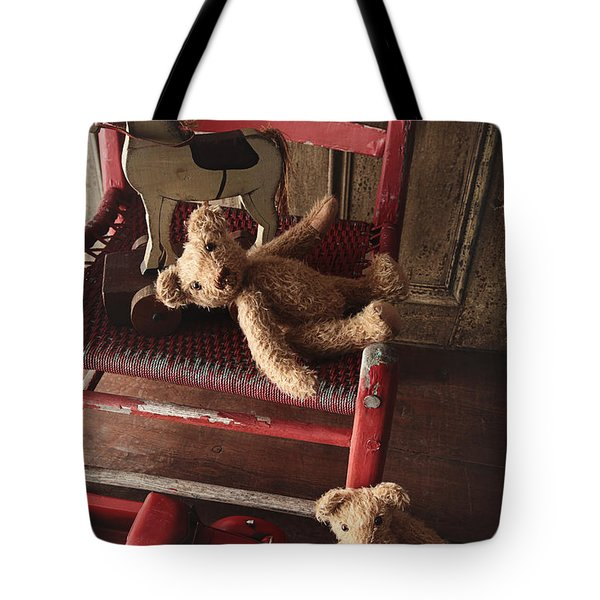 Antique Toys On Red Wooden Chair Tote Bag